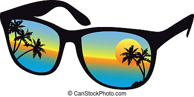 закат солнца, солнечные очки, море