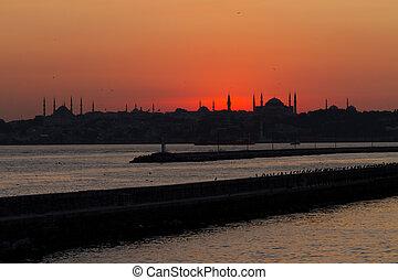 закат солнца, стамбул