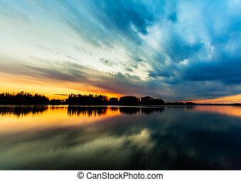 закат солнца, удивительно, небо