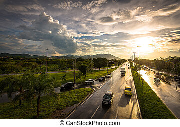 закат солнца, шоссе, влажный