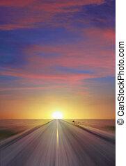 закат солнца, шоссе