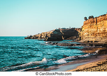 закат солнца, cliffs, калифорния, сан -, диего