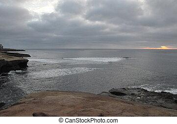 закат солнца, cliffs, калифорния