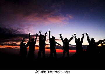 закат солнца, friends, постоянный, группа, силуэт