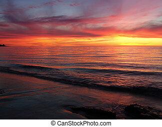 закат солнца, waves