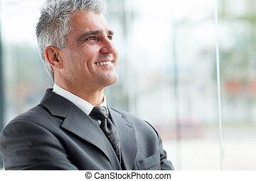 закрыть, портрет, старшая, вверх, бизнесмен