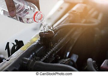 заливка, потому как, радиатор, некоторые, в связи, рука, воды, deterioration., высокая температура, car.