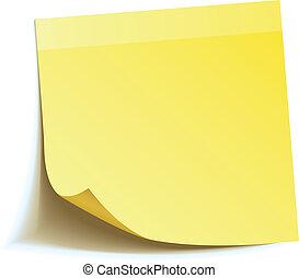 заметка, придерживаться, желтый