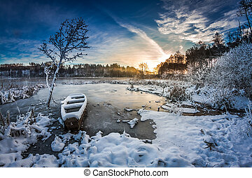 замороженные, зима, восход, озеро