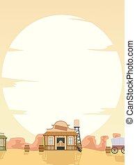 запад, старый, закат солнца, иллюстрация, задний план
