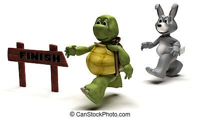 заяц, раса, метафора, черепаха