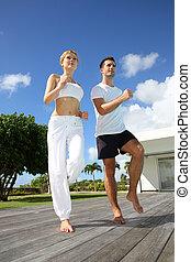 за пределами, тренер, exercising, женщина