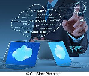 за работой, бизнесмен, современное, рука, технологии