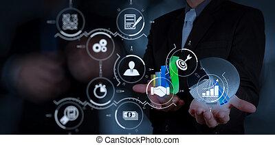 за работой, бизнес, бизнесмен, современное, стратегия, компьютер, рука, новый