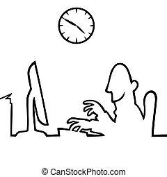 за работой, за, компьютер, 5, 9, человек