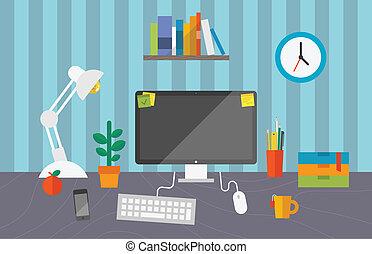 за работой, офис, пространство
