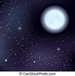 звездный, вектор, небо, луна
