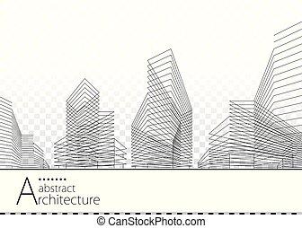 здание, абстрактные, дизайн, архитектурный