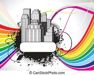здание, абстрактные, backgrou, красочный