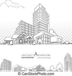 здание, архитектура, 3d, декоративный, иллюстрация, design.