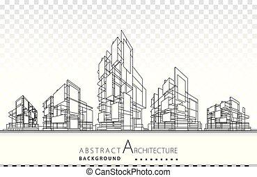 здание, архитектура, 3d, иллюстрация, design., строительство