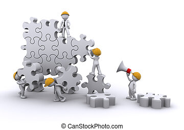 здание, бизнес, developing, concept., работа, puzzle., команда