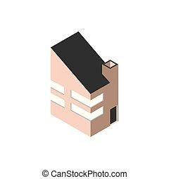 здание, блок, современное, стиль, изометрический