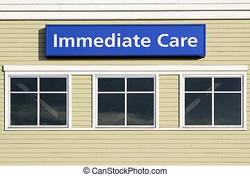 здание, больница, немедленная, знак, за пределами, забота