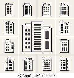здание, вектор, задавать, иллюстрация, icons