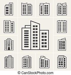 здание, вектор, иллюстрация, icons