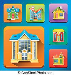 здание, вектор, красочный, icons