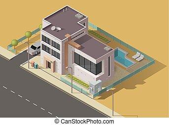 здание, главная, сад, значок, автомобиль, дом, бассейн