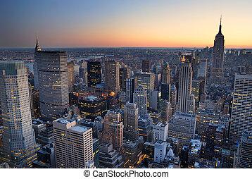 здание, город, with., антенна, панорама, линия горизонта, государство, закат солнца, йорк, новый, империя, манхеттен, посмотреть