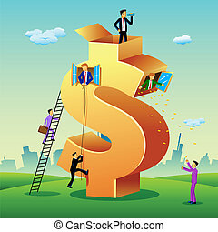 здание, доллар, бизнес, люди
