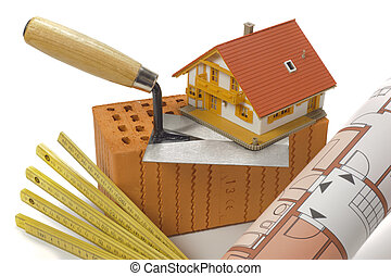 здание, дом, кирпич, инструменты