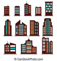 здание, задавать, красочный, icons