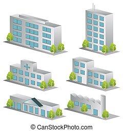 здание, задавать, 3d, icons