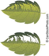 здание, зеленый, лист, завод
