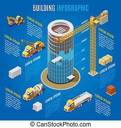 здание, изометрический, концепция, современное, infographic