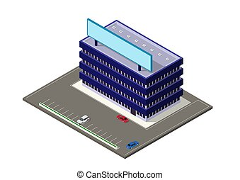 здание, изометрический, современное