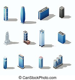 здание, изометрический, современное, задавать, небоскреб