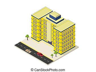 здание, изометрический, современное, значок