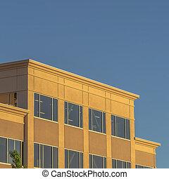 здание, квадрат, день, экстерьер, синий, небо, рамка, современное, солнечно, против, чисто, viewed