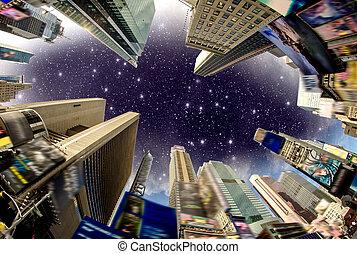 здание, квадрат, улица, объявления, usa, небо, -, times, драматичный, удален, viewed