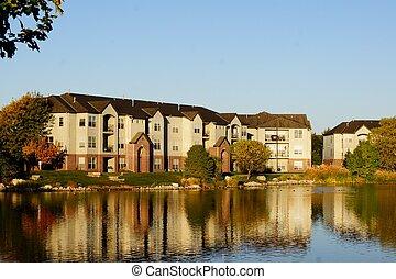 здание, квартира, сложный, озеро