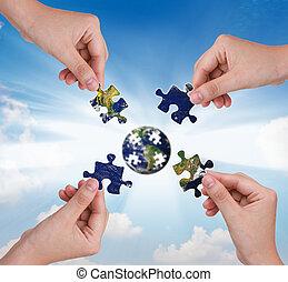 здание, концепция, бизнес, головоломка, рука, земной шар