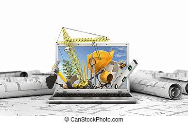 здание, концепция, портативный компьютер, screen., иллюстрация, инструменты, construction., 3d