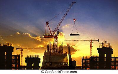 здание, красивая, использование, большой, промышленность, небо, против, инжиниринг, строительство, сумеречный, кран