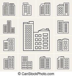 здание, линия, вектор, иллюстрация, icons