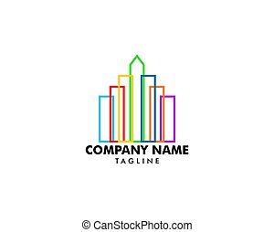 здание, логотип, абстрактные, линия, красочный
